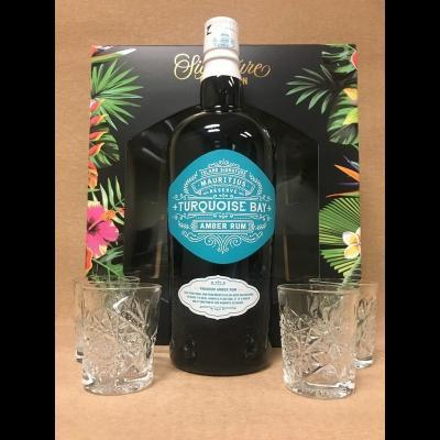 Coffret Signature Turquoise Bay 70 cl + 4 verres