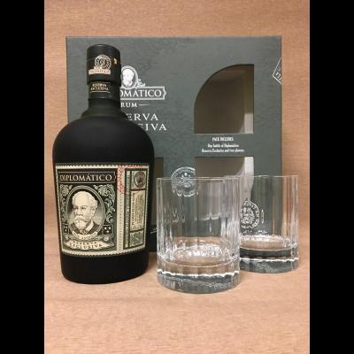 Coffret Diplomatico Reserva Exclusiva 70 cl + 2 verres